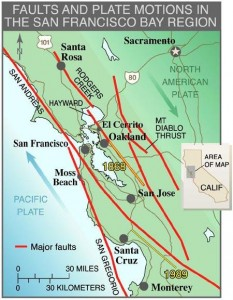 Earthquake Fault Lines In SF Bay Area