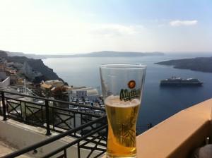 Drinking A Mythos Beer In Santorini