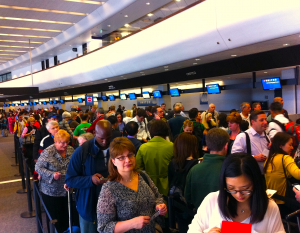 Long endless lines at the airport