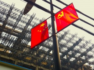 Chinese flag on a light pole