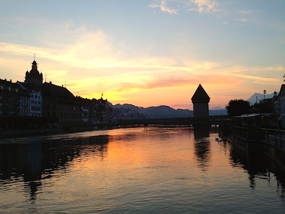 Lucerne Bridge At Sunrise