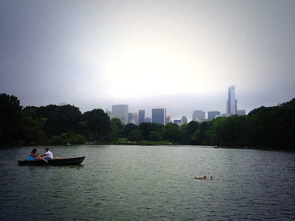 Guy rowing a boat in Central Park