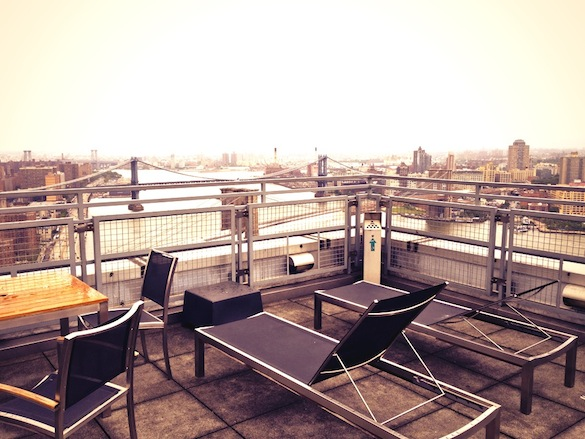 Roof deck at 200 Water St. downtown FiDi. Two bedrooms are $5,000 a month.