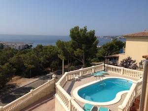 Pool overlooking the ocean. Retirement villa.