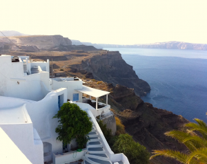 House on cliff in Santorini
