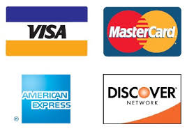 Various types of credit card logos, Visa, Mastercard, AMEX, Discover