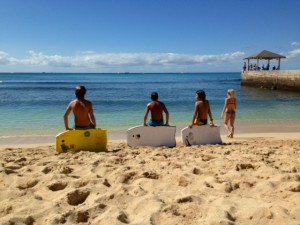 A better life, three kids on boogie boards