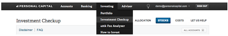 Personal Capital Investment Checkup