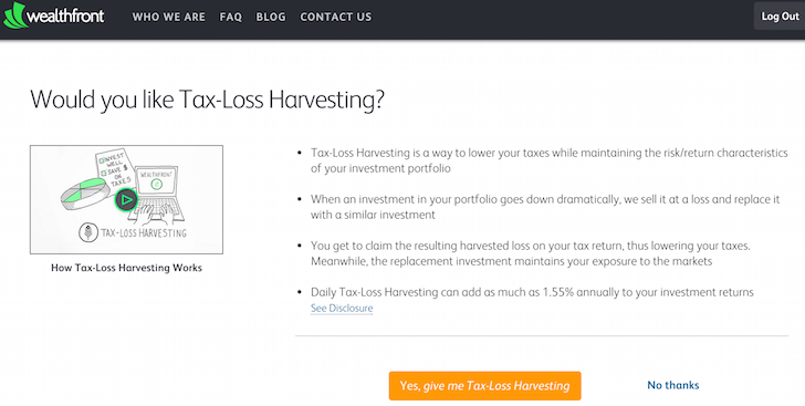 Wealthfront's Tax Loss Harvesting Service