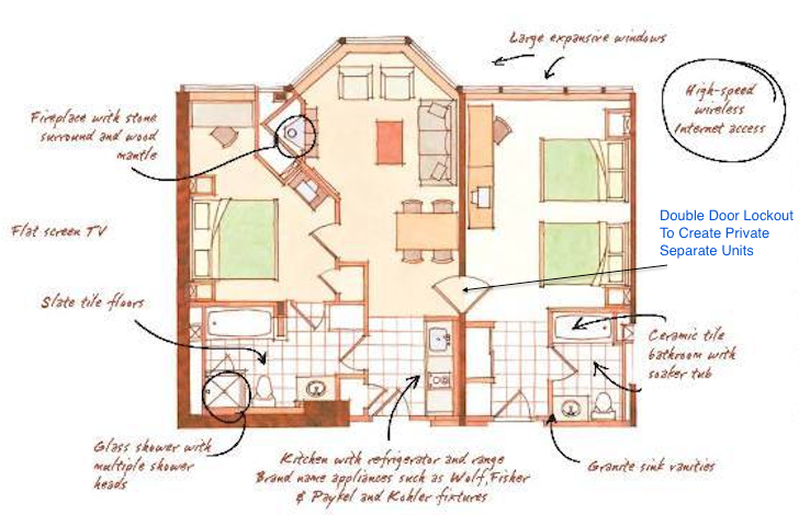Resort At Squaw Creek Two Bedroom Layout