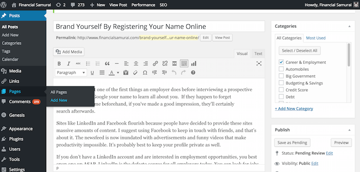 Adding a new page on WordPress