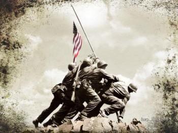 Raising The Flag in Iwo Jima 1945