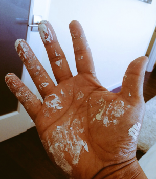 Getting my hands dirty painting and cleaning my own house