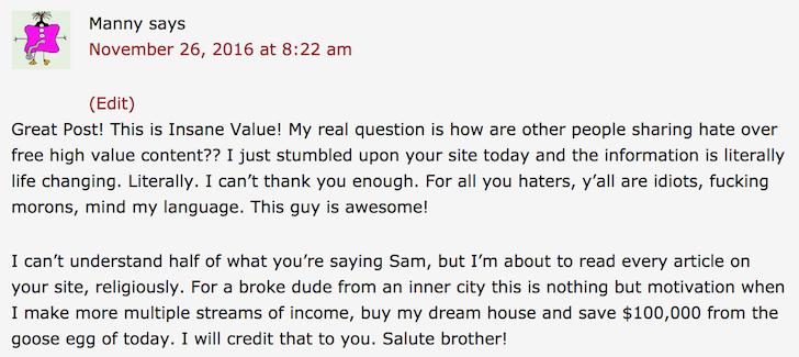 Friendly Financial Samurai Comment