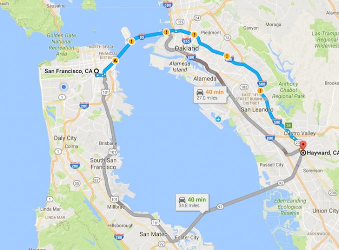 San Francisco to Hayward Map