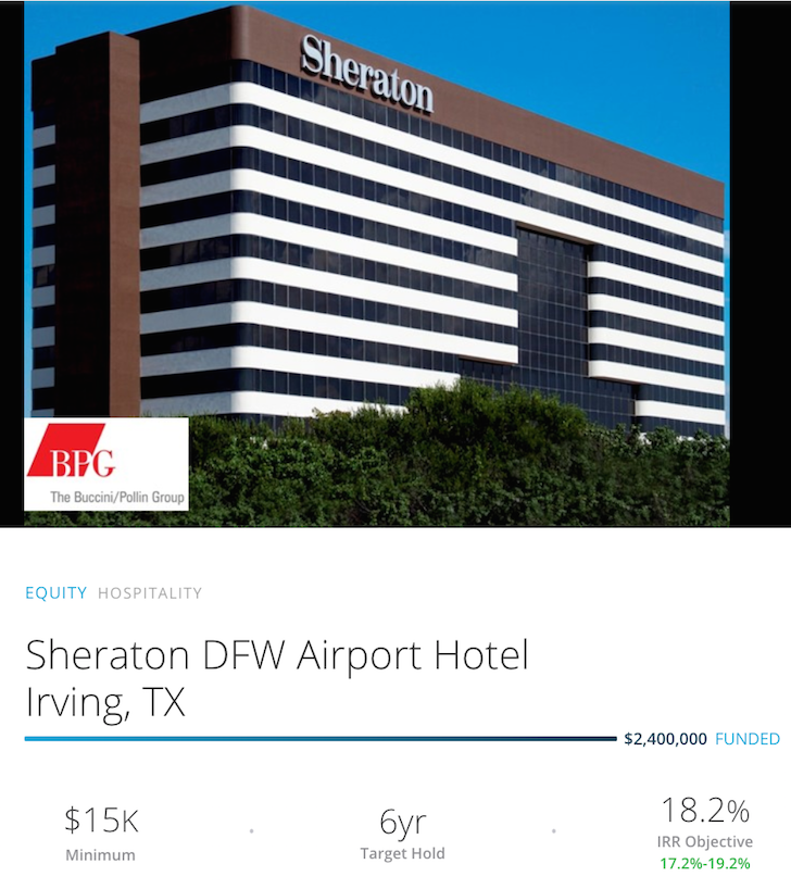 Sheraton Dallas Forth Worth RealtyShares Deal