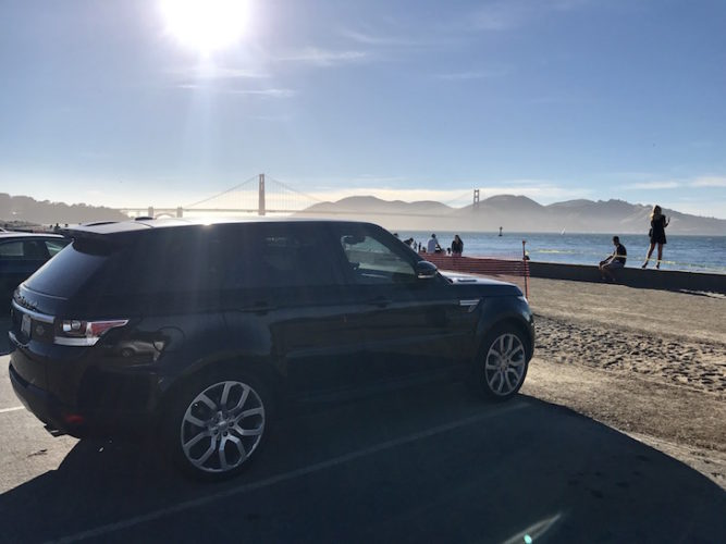 Moose II, a 2015 Range Rover Sport overlooking the Golden Gate Bridge, San Francisco