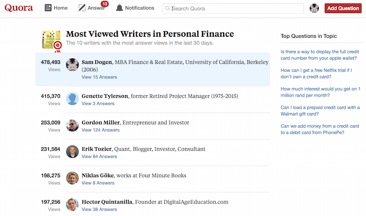 Financial Samurai most viewed writer in Personal Finance Quora