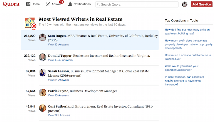 Financial Samurai most viewed writer on Real Estate Quora