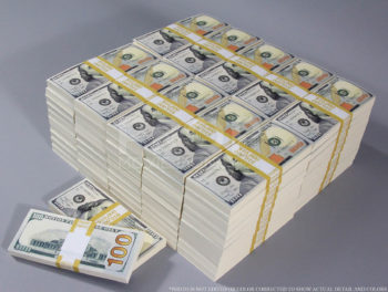 Stack of one million dollar bills
