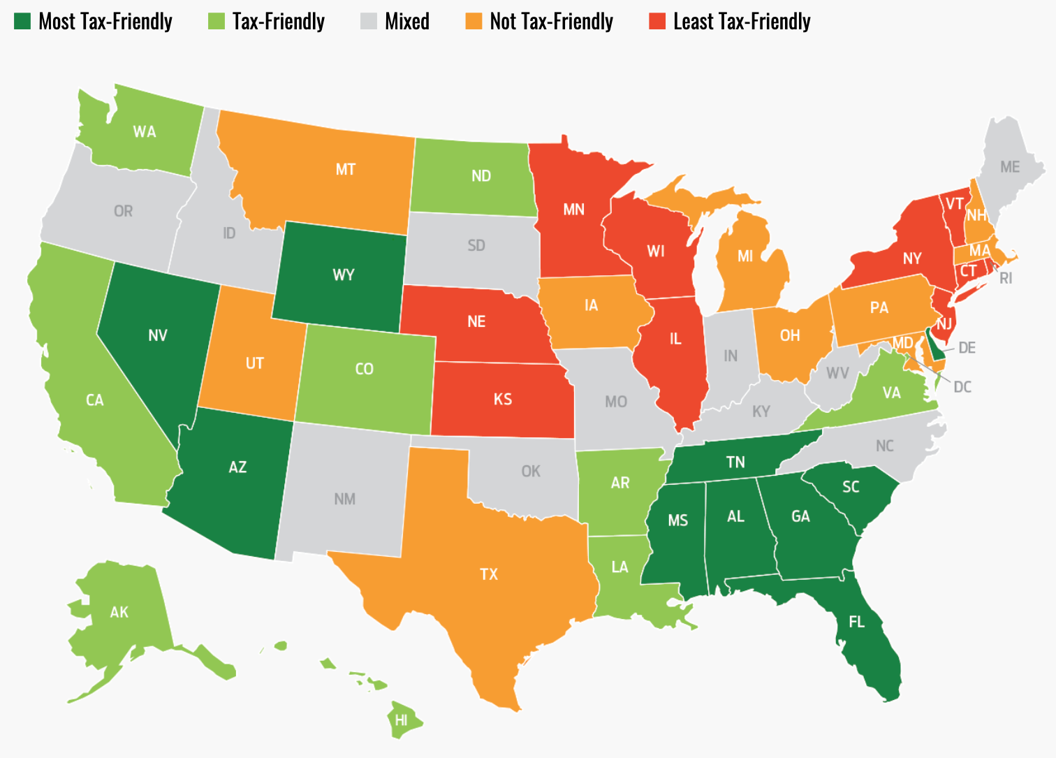 Map of America highlighting states from least tax-friendly to most tax-friendly
